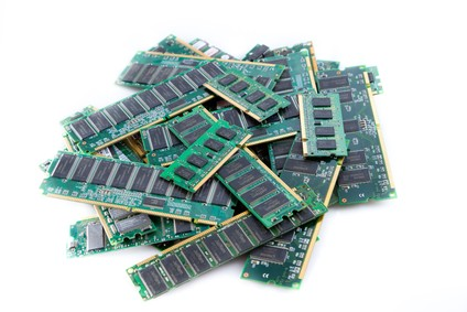 stack of ram modules isolated on white background studio shot