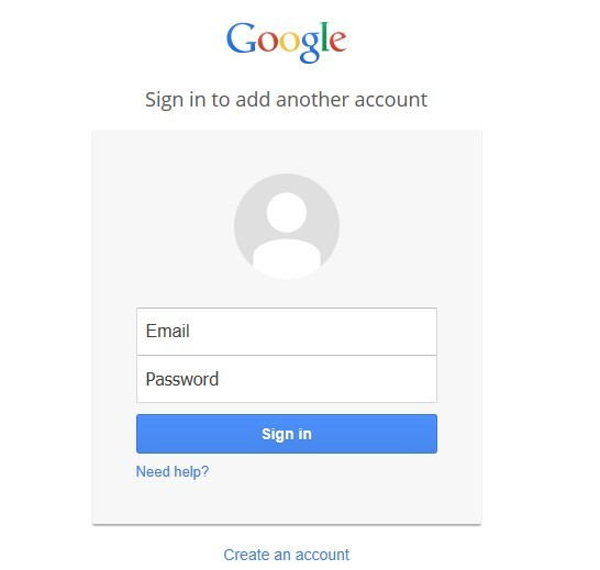 Google Sign in Screen